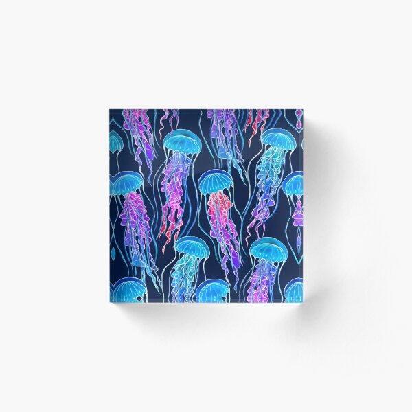 Luminescent Rainbow Jellyfish on Navy Blue Acrylic Block