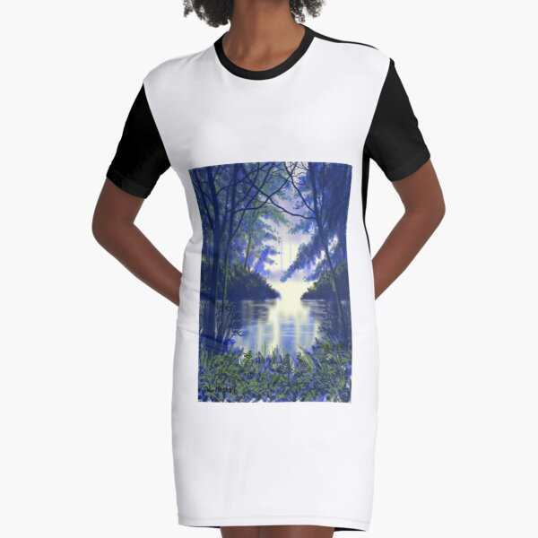 Forest Glow Graphic T-Shirt Dress