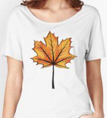 Yellow Orange Autumn Leaf On Blue   Decorative Botanical Art Women's Relaxed Fit T-Shirt