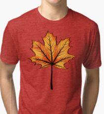 Yellow Orange Autumn Leaf On Blue   Decorative Botanical Art Tri-blend T-Shirt