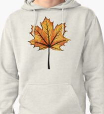 Yellow Orange Autumn Leaf On Blue | Decorative Botanical Art Pullover Hoodie