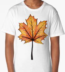 Yellow Orange Autumn Leaf On Blue   Decorative Botanical Art Long T-Shirt