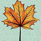 Yellow Orange Autumn Leaf On Blue | Decorative Botanical Art by Boriana Giormova
