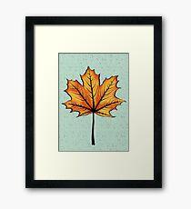 Yellow Orange Autumn Leaf On Blue | Decorative Botanical Art Framed Print