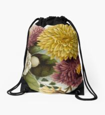flower garden floral art graphic design artwork mum chrysanthemum Drawstring Bag