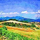 Borrello: agricultural landscape with village, mountains and clouds by Giuseppe Cocco