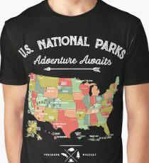 Camiseta gráfica National Park Map Vintage T Shirt - Todos los 59 parques nacionales