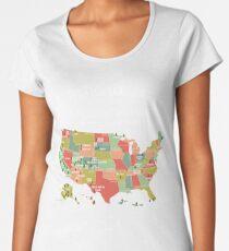 Camiseta premium para mujer National Park Map Vintage T Shirt - Todos los 59 parques nacionales