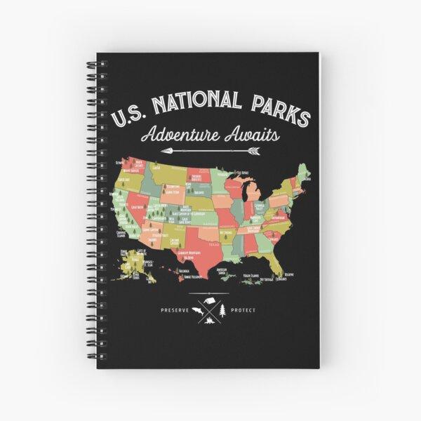National Park Map Vintage T Shirt - All 59 National Parks Spiral Notebook