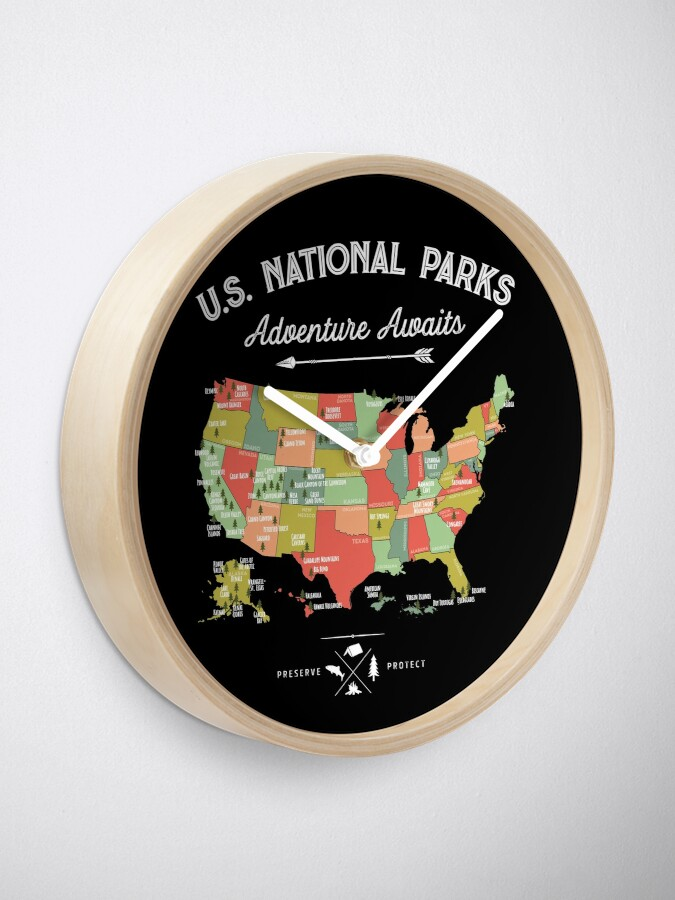 Alternate view of National Park Map Vintage T Shirt - All 59 National Parks Clock