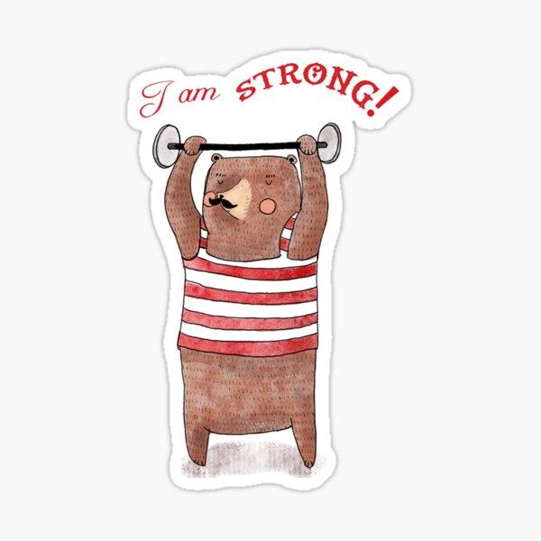 I am strong! Weightlifter circus bear Sticker