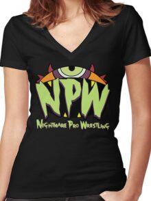 Nightmare Pro Wrestling - 2015 Logo Women's Fitted V-Neck T-Shirt