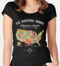 Camiseta entallada de cuello redondo National Park Map Vintage T Shirt - Todos los 59 parques nacionales