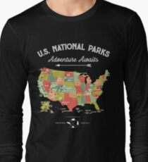 Camiseta de manga larga National Park Map Vintage T Shirt - Todos los 59 parques nacionales