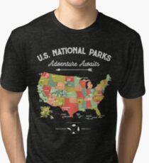 National Park Map Vintage T Shirt - All 59 National Parks Tri-blend T-Shirt