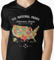 National Park Map Vintage T Shirt - All 59 National Parks Men's V-Neck T-Shirt