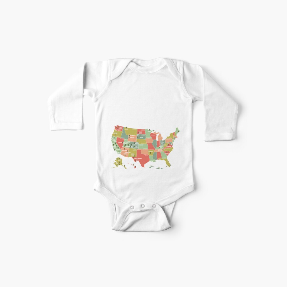 National Park Map Vintage T Shirt - All 59 National Parks Baby One-Piece