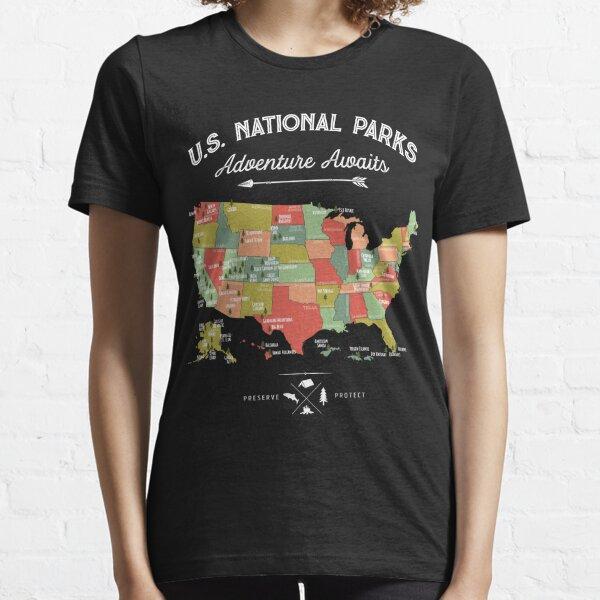 Nationalpark Karte Vintage T-Shirt - Alle 59 Nationalparks Essential T-Shirt