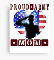 Funny Proud Army Mom Womens US Angel Military crewneck tee Shirt Canvas Print