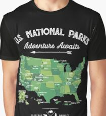 National Park Map Vintage T Shirt - All 59 National Parks Gifts Men Women Kids Graphic T-Shirt
