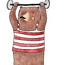 I am strong! Weightlifter circus bear by Elena Mazzali