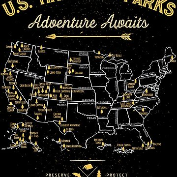 National Park Map Vintage T Shirt - All 59 National Parks Gifts Men Women Kids by LiqueGifts