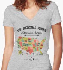 National Park Map Vintage T Shirt - All 59 National Parks Gifts T-shirt Men Women Kids Women's Fitted V-Neck T-Shirt