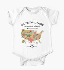 National Park Map Vintage T Shirt - All 59 National Parks Gifts T-shirt Men Women Kids Short Sleeve Baby One-Piece