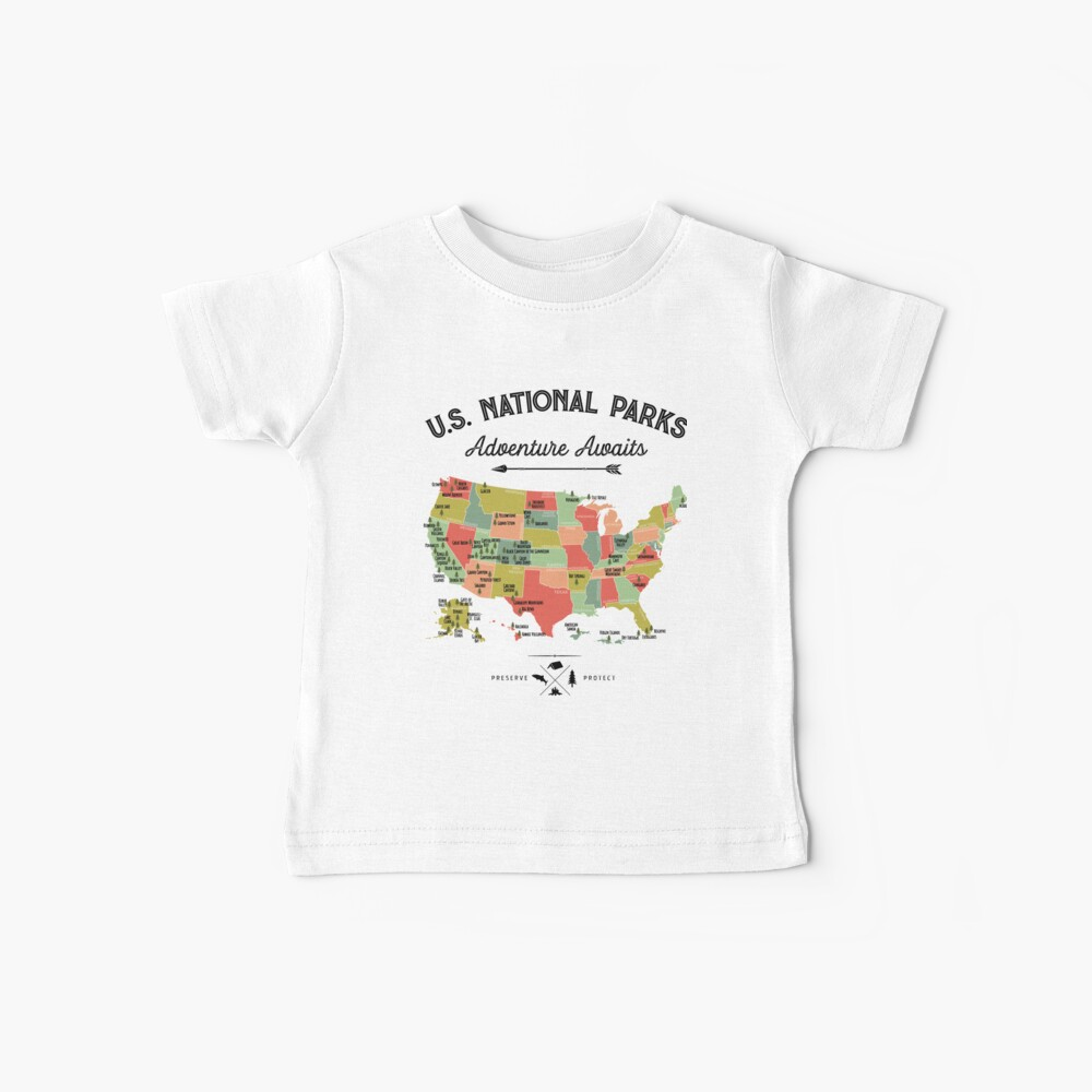 National Park Map Vintage T Shirt - All 59 National Parks Gifts T-shirt Men Women Kids Baby T-Shirt