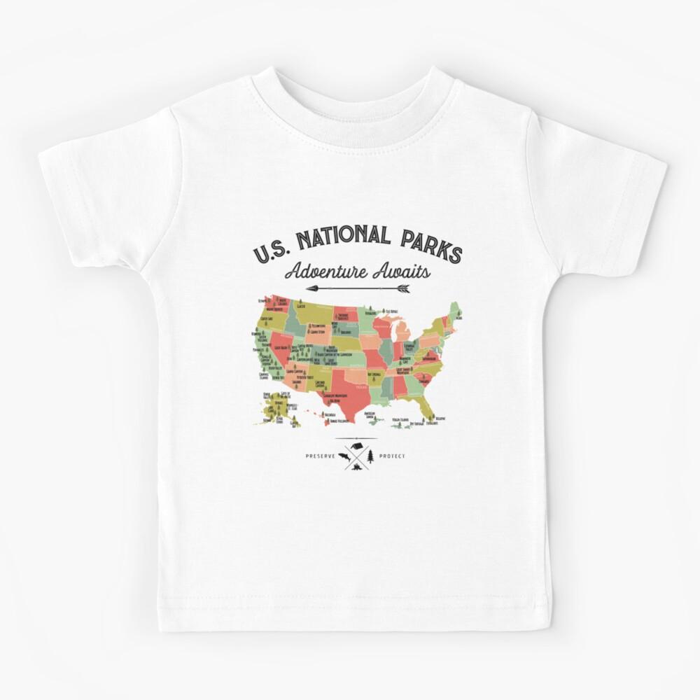 National Park Map Vintage T Shirt - All 59 National Parks Gifts T-shirt Men Women Kids Kids T-Shirt