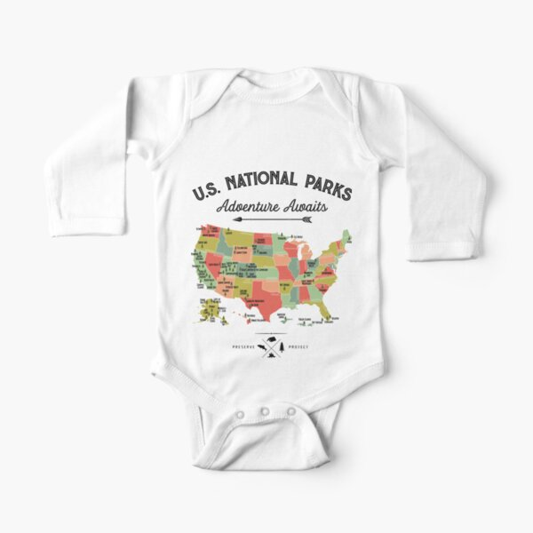 National Park Map Vintage T Shirt - All 59 National Parks Gifts T-shirt Men Women Kids Long Sleeve Baby One-Piece
