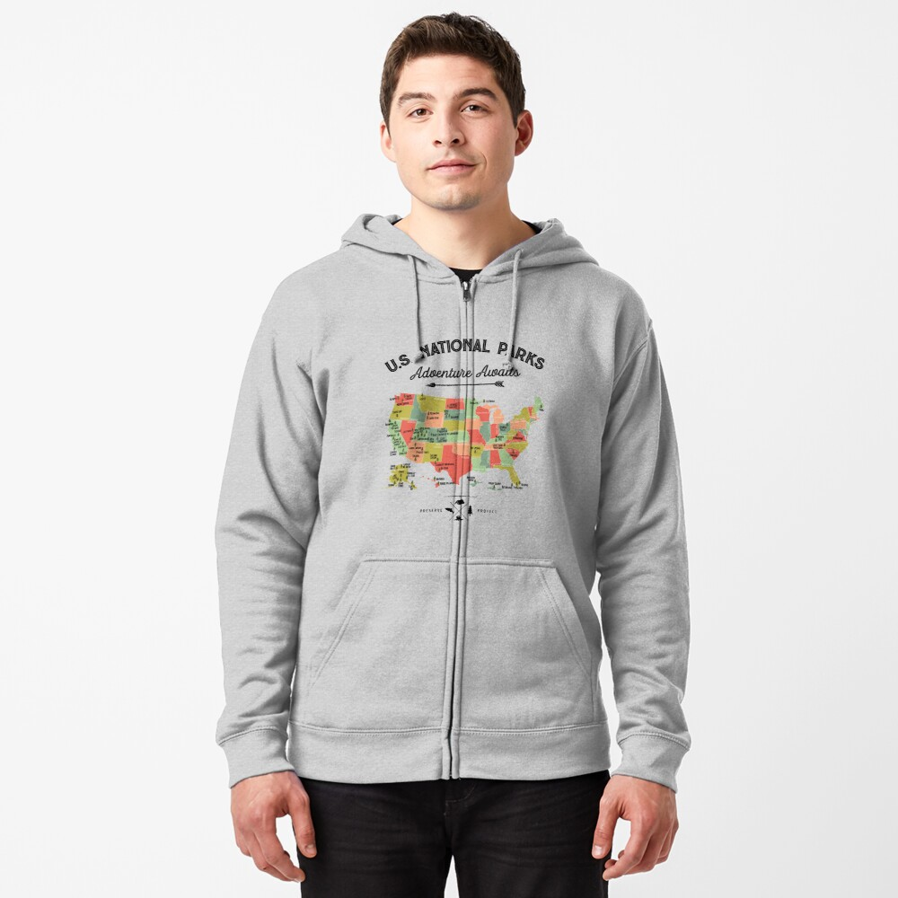 National Park Map Vintage T Shirt - All 59 National Parks Gifts T-shirt Men Women Kids Zipped Hoodie
