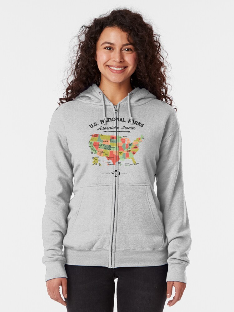 Alternate view of National Park Map Vintage T Shirt - All 59 National Parks Gifts T-shirt Men Women Kids Zipped Hoodie