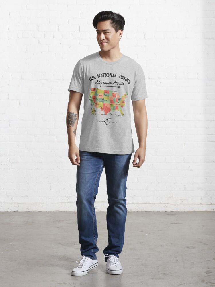 Alternate view of National Park Map Vintage T Shirt - All 59 National Parks Gifts T-shirt Men Women Kids Essential T-Shirt