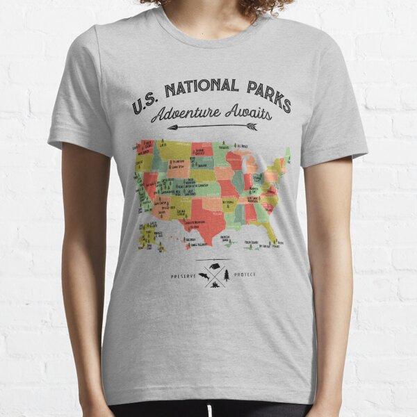 National Park Map Vintage T Shirt - All 59 National Parks Gifts T-shirt Men Women Kids Essential T-Shirt