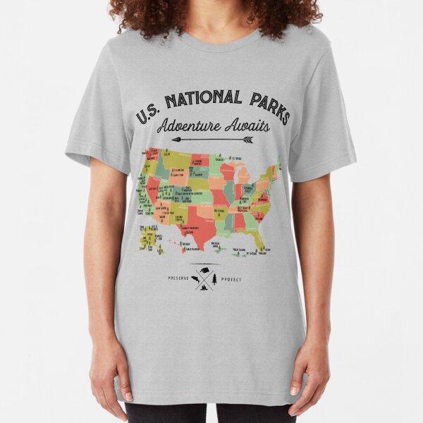 National Park Map Vintage T Shirt - All 59 National Parks Gifts T-shirt Men Women Kids Slim Fit T-Shirt