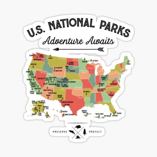 National Park Map Vintage T Shirt - All 59 National Parks Gifts T-shirt Men Women Kids Sticker