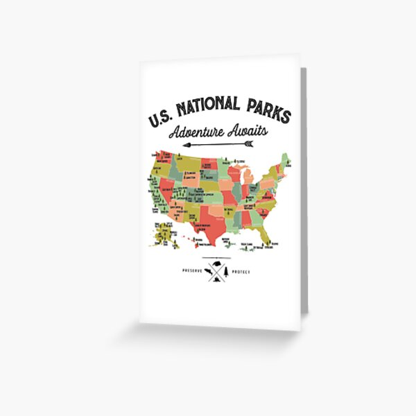 National Park Map Vintage T Shirt - All 59 National Parks Gifts T-shirt Men Women Kids Greeting Card