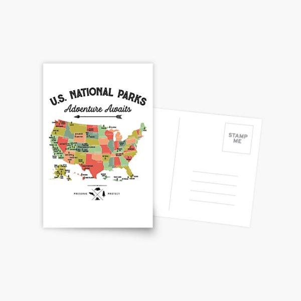 National Park Map Vintage T Shirt - Los 59 Parques Nacionales Regalos T-shirt Hombres Mujeres Niños Postal