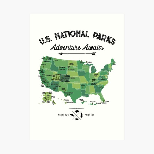 National Park Map Vintage T Shirt - All 59 National Parks Gifts T-shirt Men Women Kids Art Print