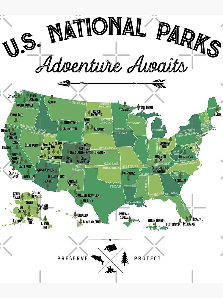 National Park Map Vintage T Shirt - All 59 National Parks Gifts T-shirt Men  Women Kids | Greeting Card