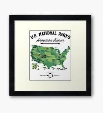 National Park Map Vintage T Shirt - All 59 National Parks Gifts T-shirt Men Women Kids Framed Print