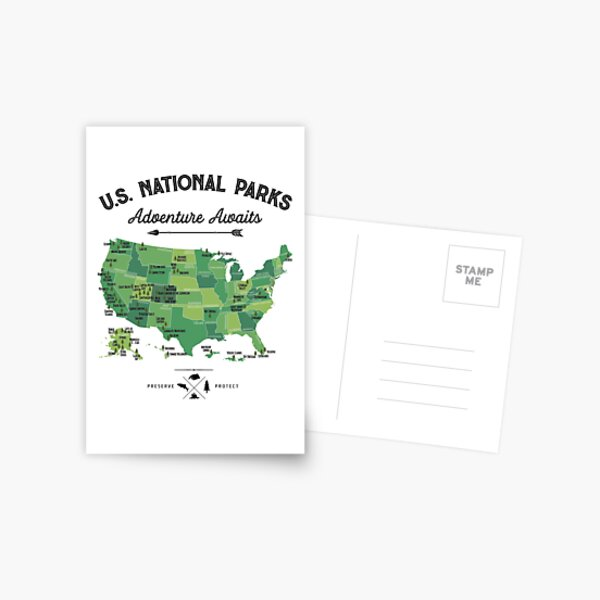 National Park Map Vintage T Shirt - All 59 National Parks Gifts T-shirt Men Women Kids Postcard