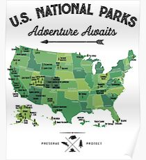 National Park Map Vintage T Shirt - All 59 National Parks Gifts T-shirt Men Women Kids Poster