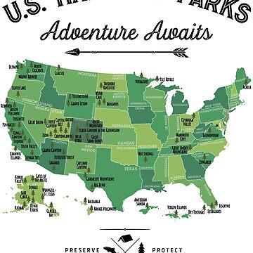 National Park Map Vintage T Shirt - All 59 National Parks Gifts T-shirt Men Women Kids by LiqueGifts