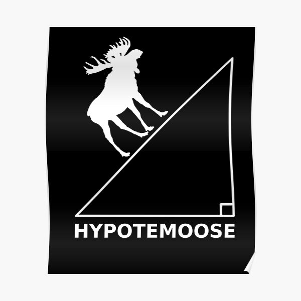 Hypotemoose - Funny Pythagoras Triangle Algebra Math Poster