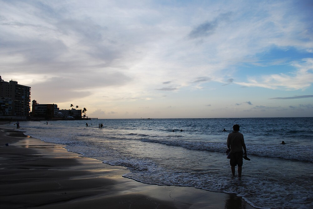 Man On Beach by Jennifer Suttle