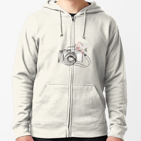 Floral Butterfly Camera Zipped Hoodie