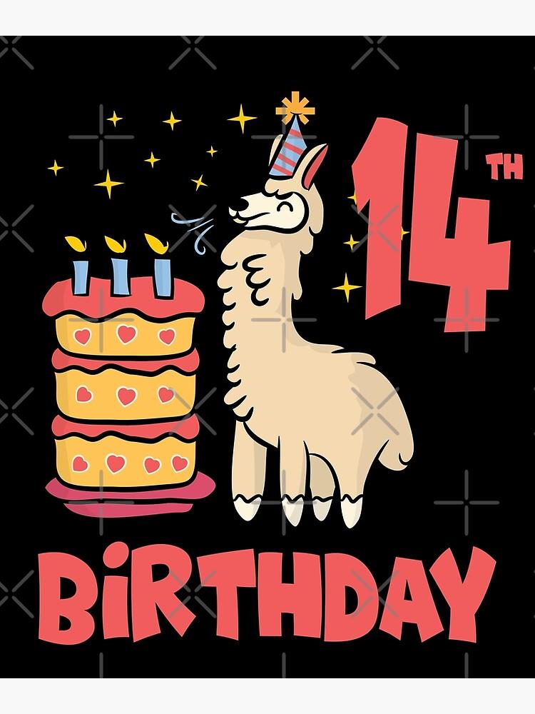 Remarkable Cute Llama 14Th Birthday Alpaca Birthday Cake Greeting Card By Personalised Birthday Cards Akebfashionlily Jamesorg