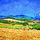 Borrello: agricultural landscape with two hay bales by Giuseppe Cocco